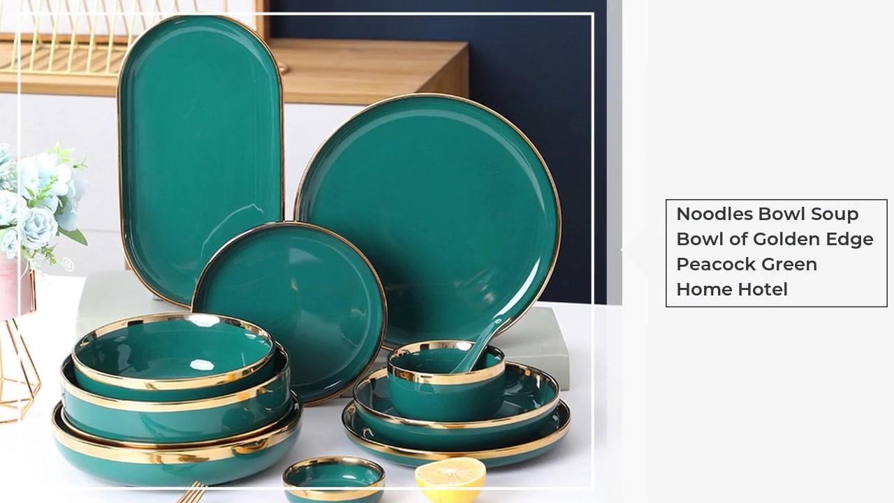 Nudelnschale Suppenschüssel Golden Rand Peacock Green Home Hotel