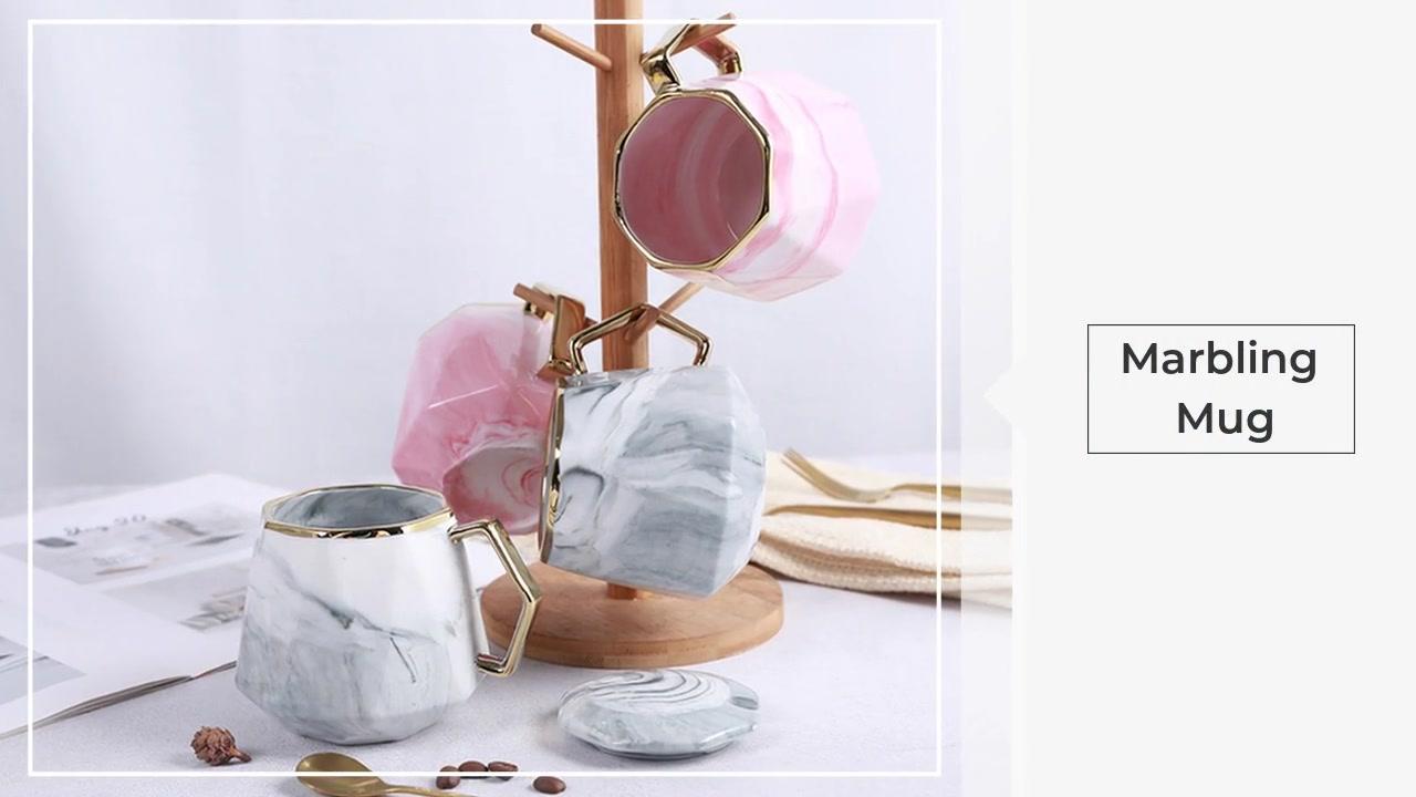 Tazza di marmorizzazione Bella tazza di caffè in ceramica in ceramica con coperchio