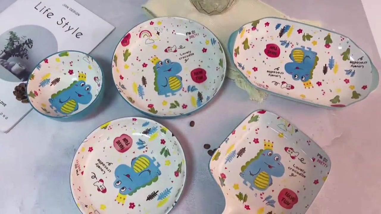 Cartone animato Dinosauro Riso ciotola famiglia Nordic ceramica stoviglie carino riso ciotola set personalità creativa