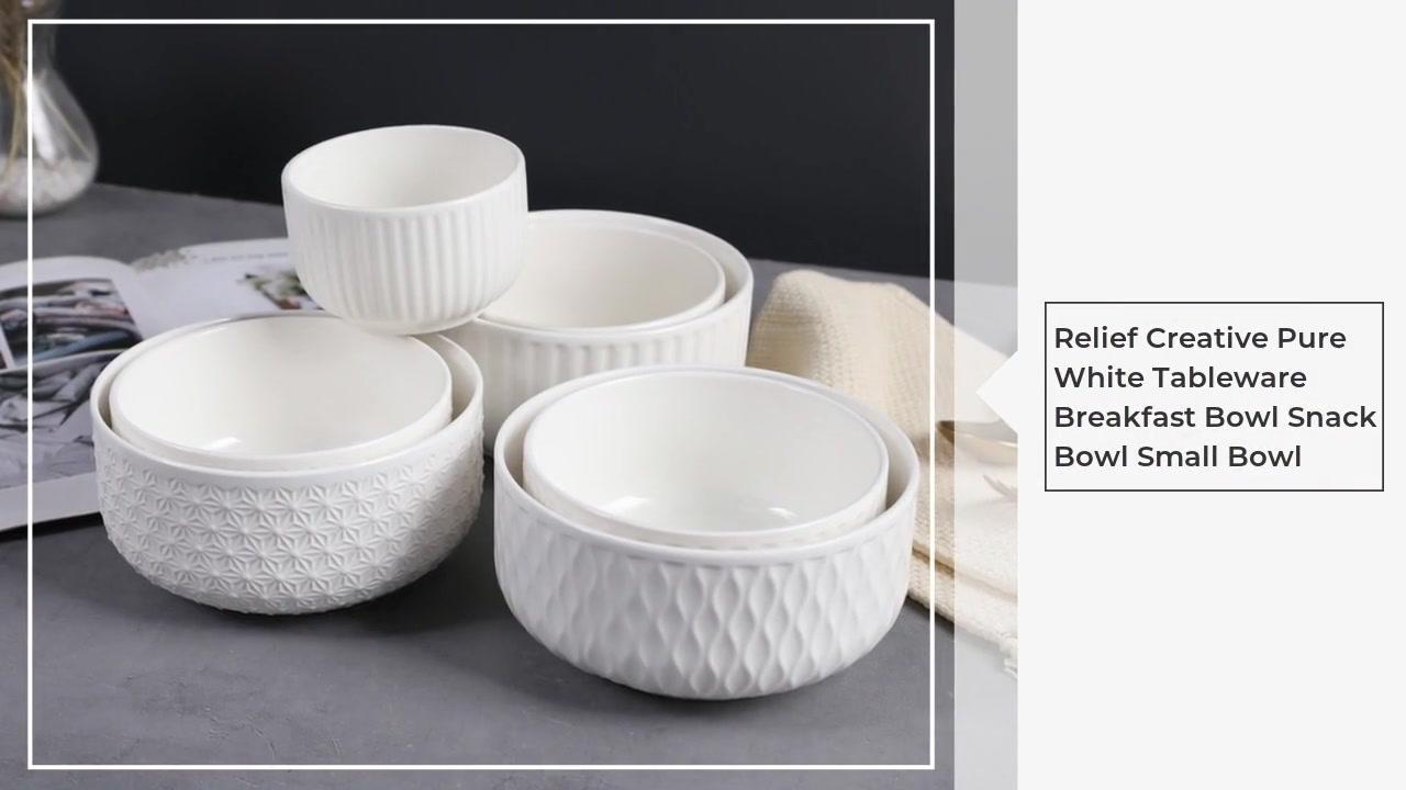 구호 창조적 인 순수한 화이트 식기 아침 그릇 스낵 그릇 작은 그릇