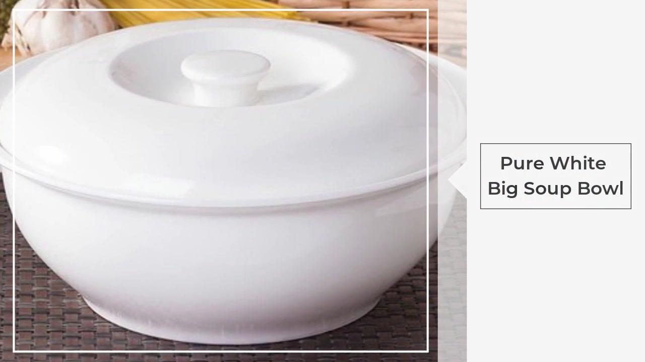 Tiszta fehér nagy leves tál fedél leves pot