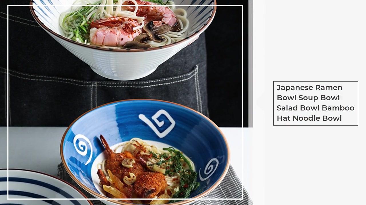 Cuenco de sopa de sopa de ramen japonés, ensalada, bambú, sombrero de bambú, cuenco de fideos