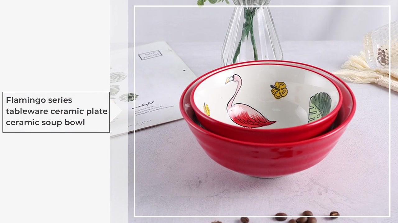 Bol à soupe en céramique de la céramique de la vaisselle de la série Flamingo