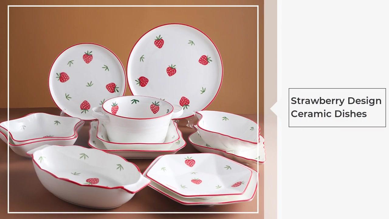 Çilek Tasarım Seramik Kase Set Bulaşık Çanak Çanak Batı Çanak Net Kırmızı Sofra