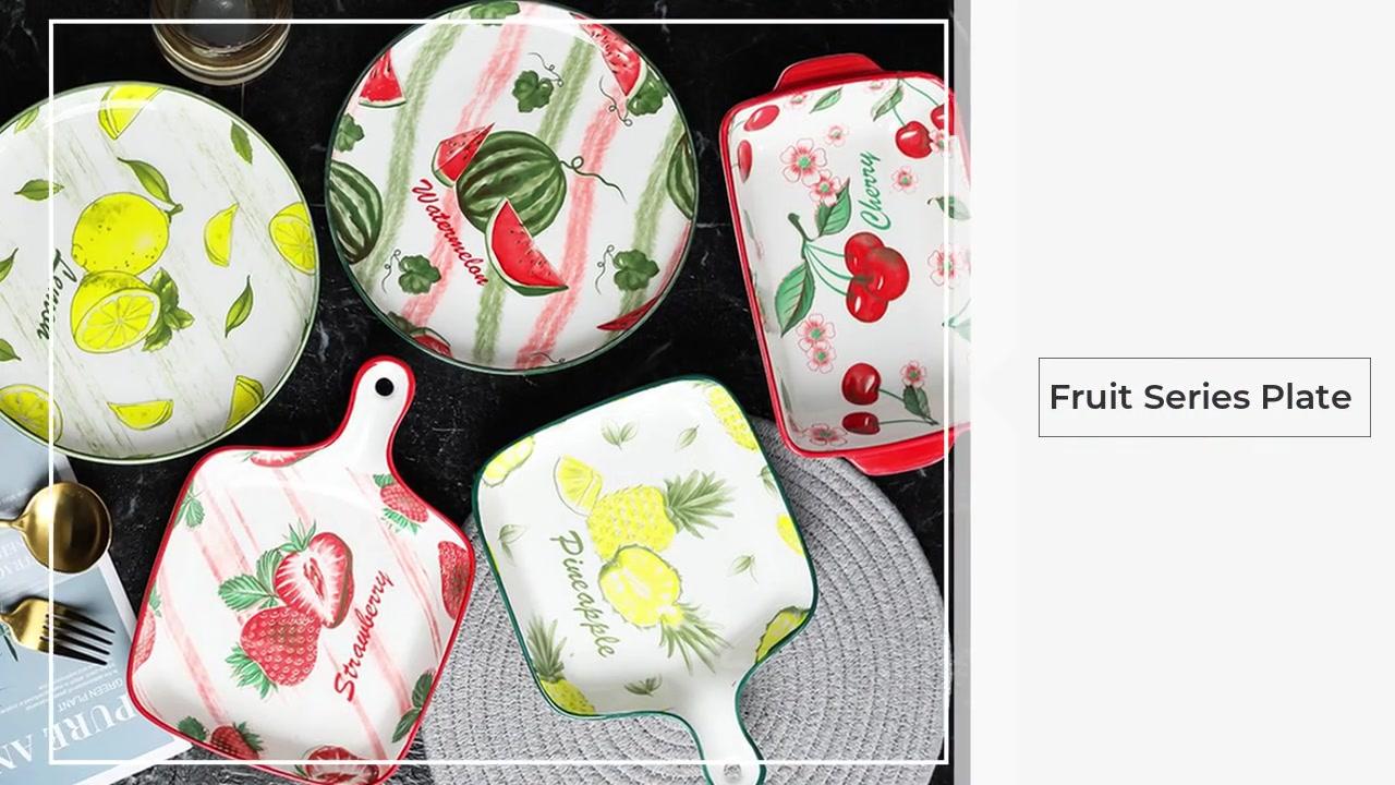 Prato de assadeira série de frutas cerâmicas com alça
