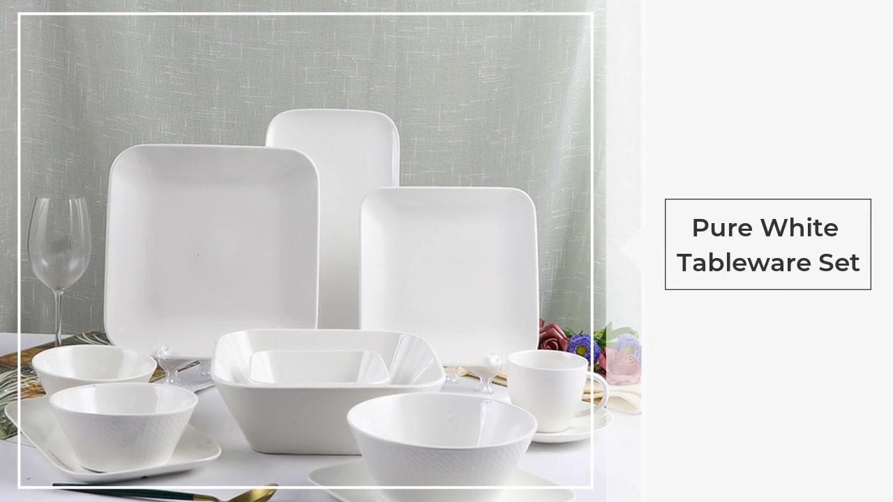 순수한 화이트 식기 세트 라이트 럭셔리 릴리프 화이트 세라믹 가정용 그릇 접시 조합