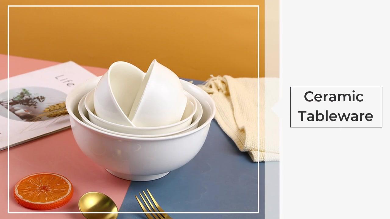 Ciotola di riso in ceramica in ceramica bianca puro Grande ciotola di riso