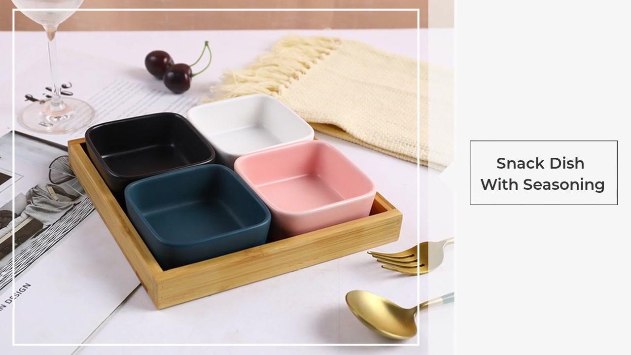 Placa de bocadillo de cerámica de bandeja de madera