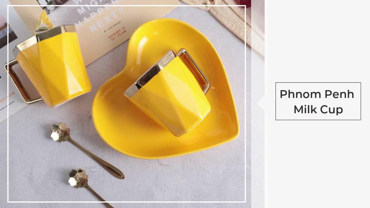 Maniglia in oro tazza di caffè e piattino tazza creativa tazza di latte con bordi dorati