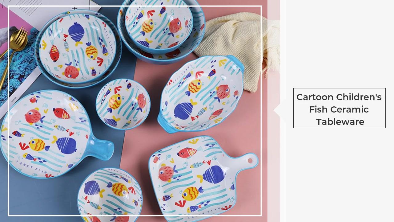 Utensílios de mesa Atacado Fornecedor Creative Cartoon Fish Plate De Cerâmica De Cerâmica