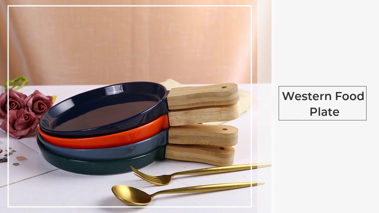Piastra cibo occidentale con manico in legno cottura lamina piana Piastra