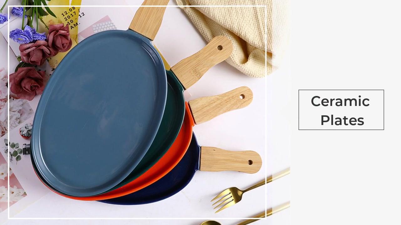 Северная посуда с деревянной ручкой керамическая пластина стейк тарелка западная пищевая тарелка