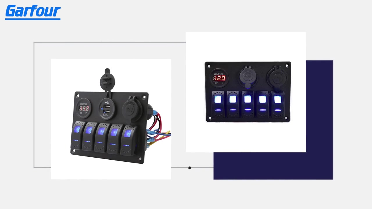Garfour Impermeabile Garfour Switch Rocker Switch Pannello in alluminio 5 Gang con doppia presa USB Slot 3.1a + Volt Meter Blue LED luce per auto camion camion
