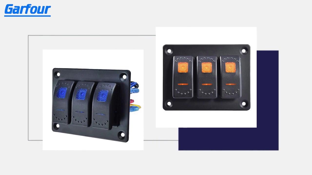 Garfour Rocker Switch Алюминиевая панель 3 Toggle Switch для автомобильной Marine Marine 5-контактный на доске с предварительной проводной рокеровкой с рокерным переключателем, кронштейн 12 / 24V для морского автомобиля ATV UTV (Orange)