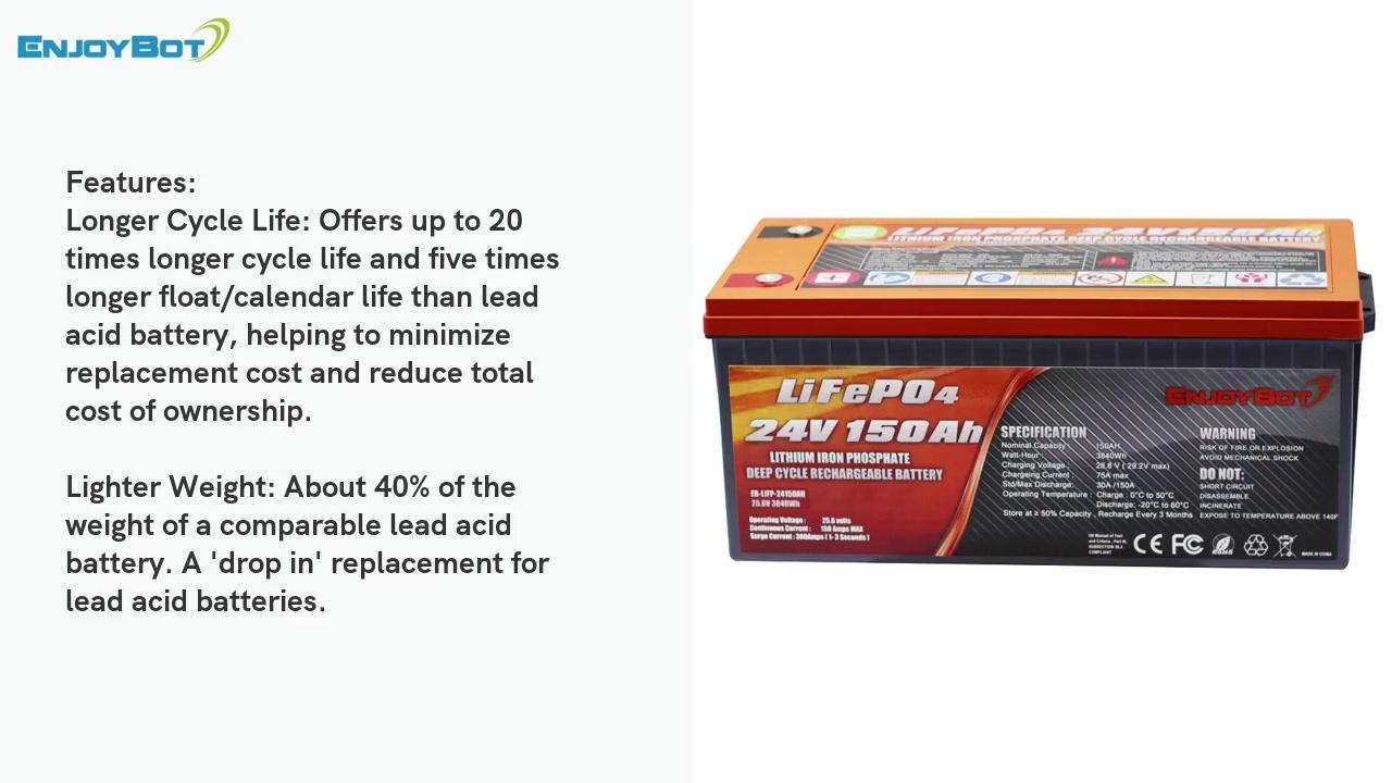 24V 150AH LIFEPO4 แบตเตอรี่