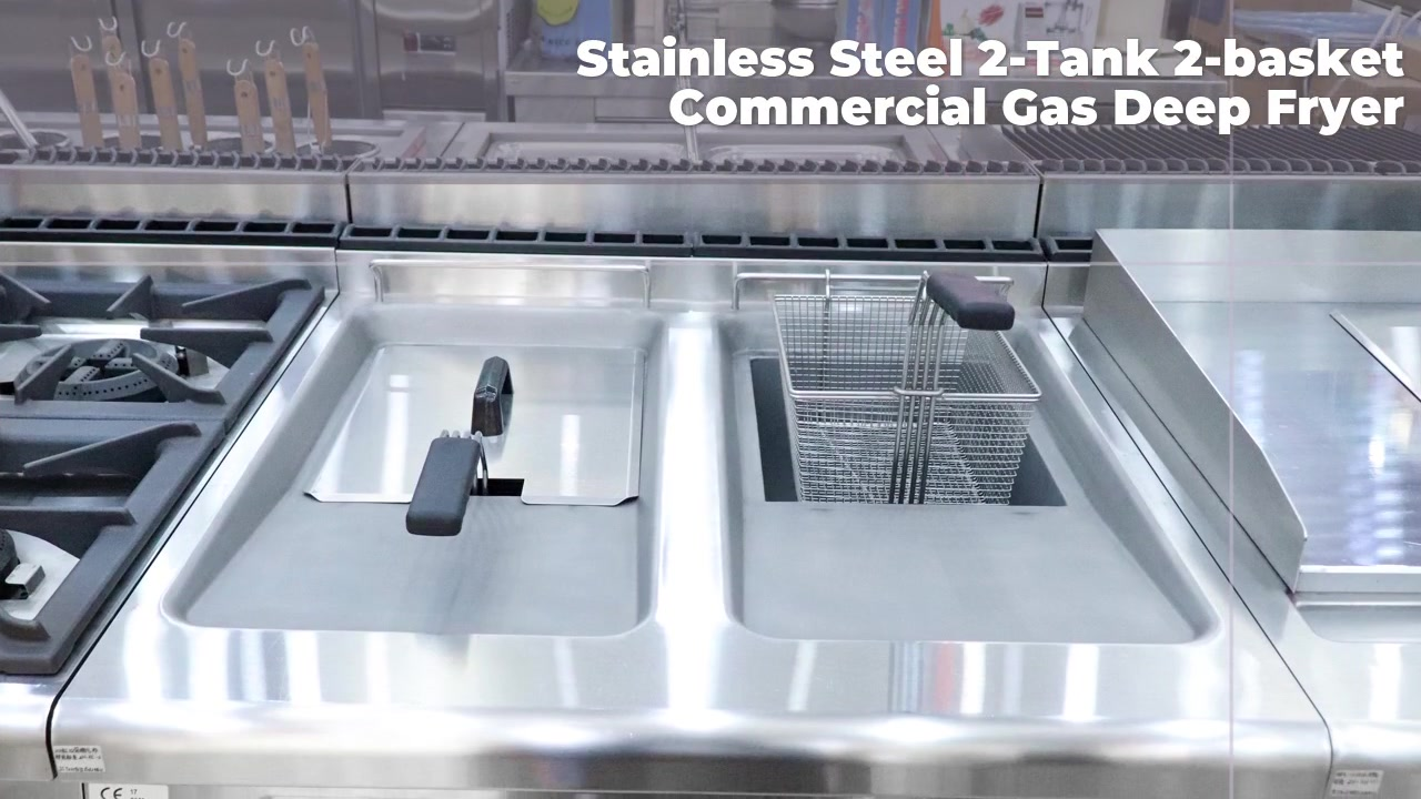 Stainless Steel 2-Tank 2-basket Commercial Gas Deep Fryer