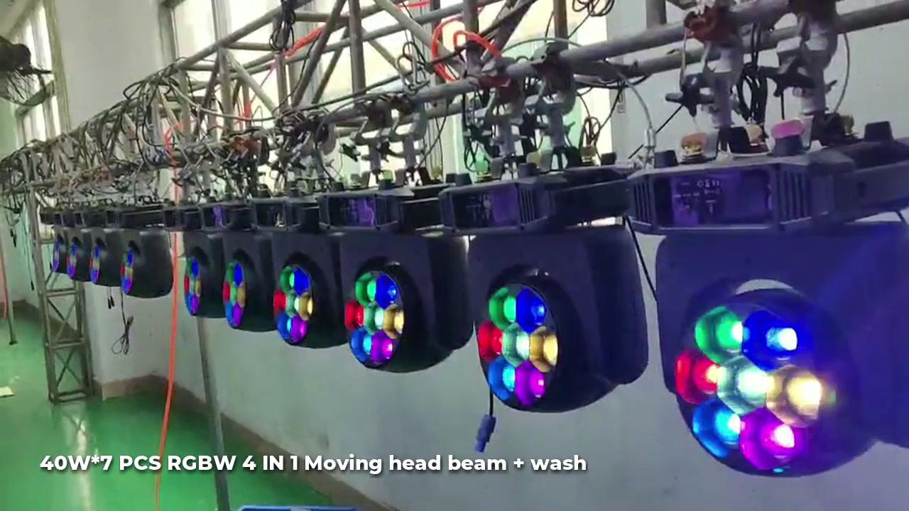 40W*7 PCS RGBW 4 IN 1 Moving head beam + wash/COB 100W RGB 3 IN 1
