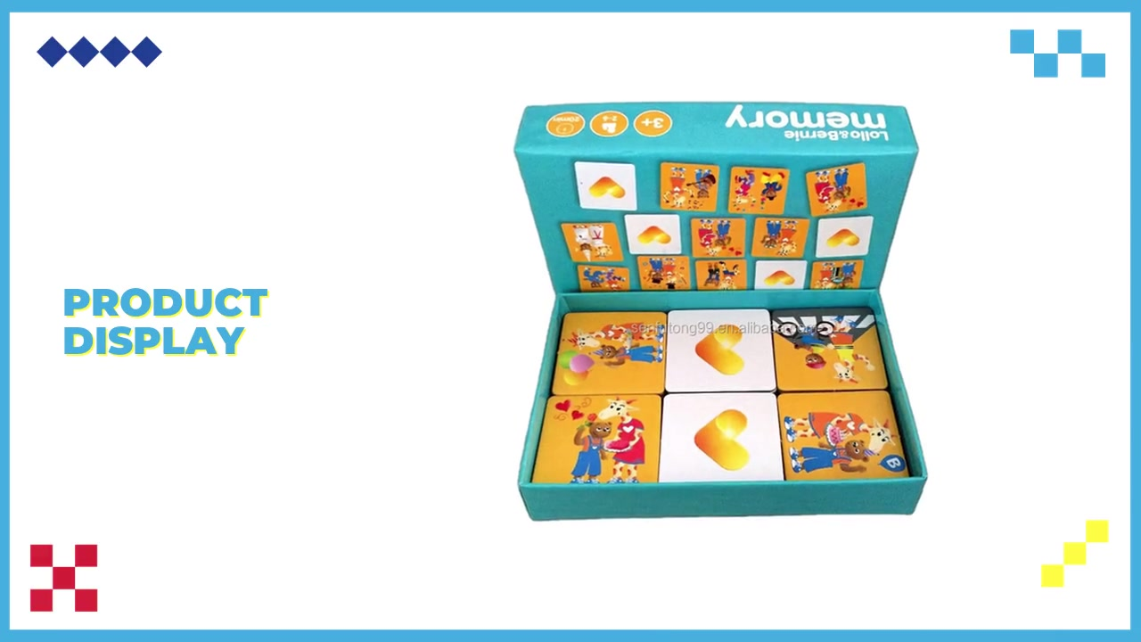 Paper Material Custom Memory Game Cards Flash Cards With Color Box
