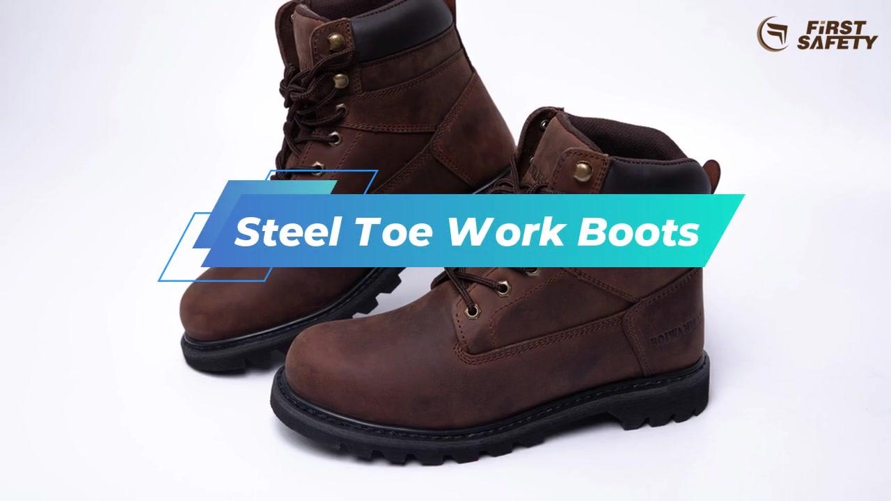 Stivali da lavoro in acciaio, stivali antiscivolo con cuoio cuoio cuoio e suola in gomma resistente all'olio Brown 6G008S