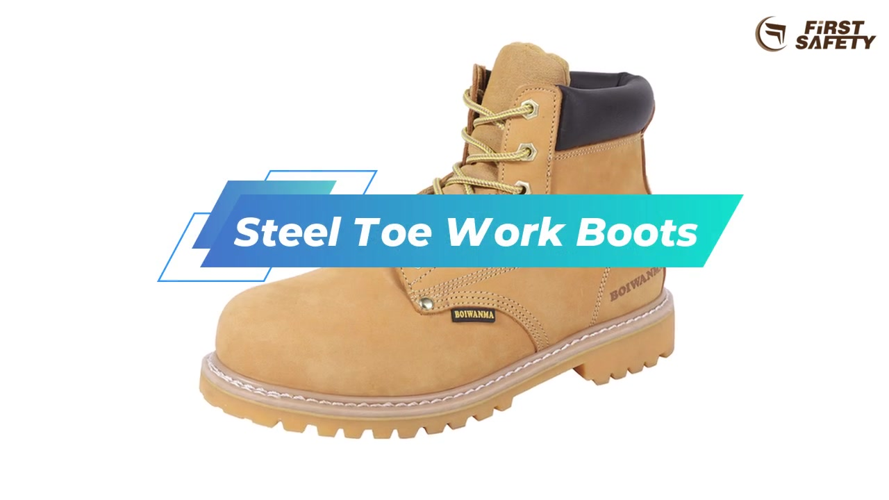 Steel Toe Work Boots, Nubuck Leather Boots With Oli-resistant Rubber Sole