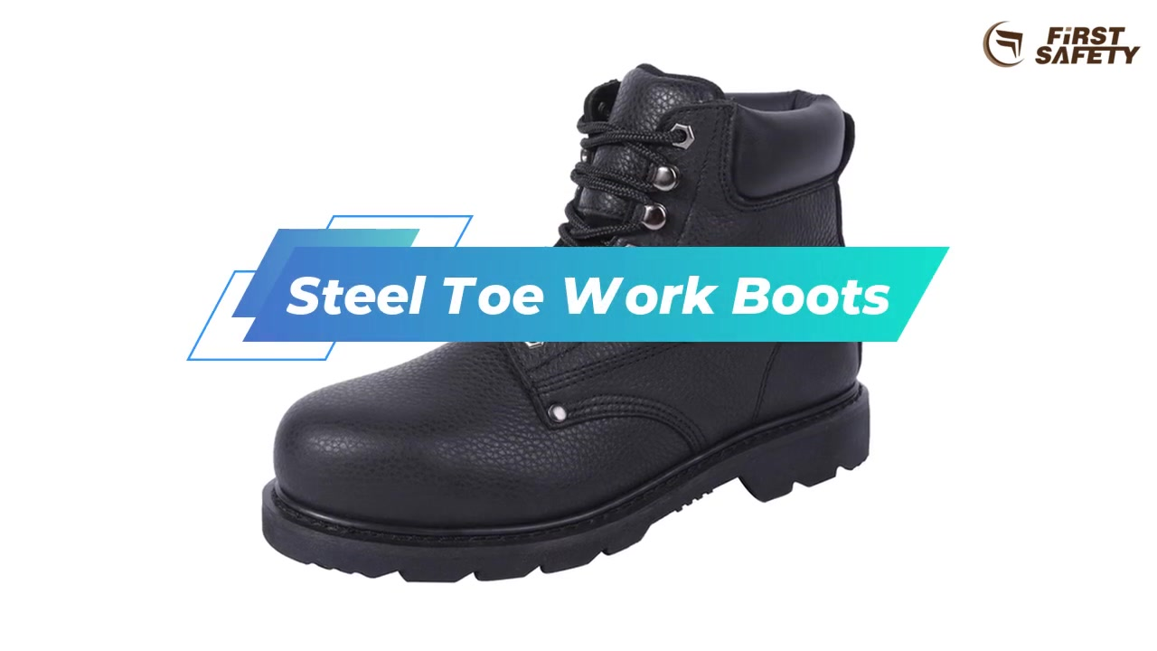Non-Slip Steel Toe Work Boots Black With Full-Grain leather And Oil-Resistant Rubber Sole