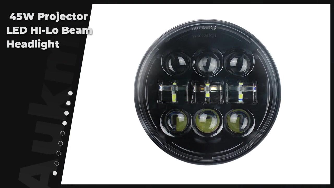 5-3/4 5.75 Inch 45W Projector LED HI-Lo Beam Headlight For Dyna Sportster Softail Dyna Glide Fat Bob Street Bob Motorcycle