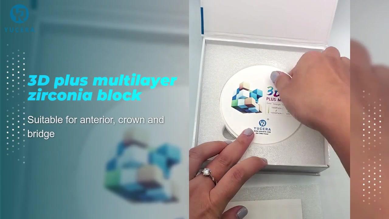 3D plus zirconia multilayer block 43% -57% 6 layer ball gown for porcelain false teeth 3D plus zirconia multilayer bloc
