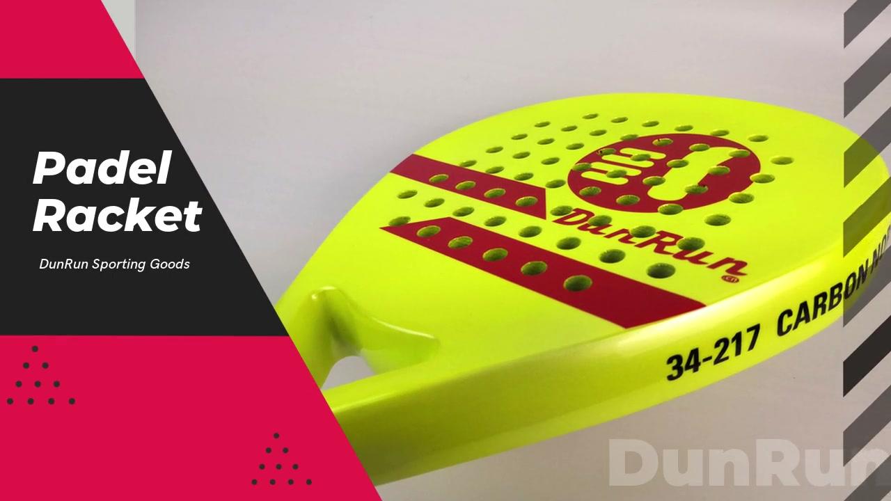 Dunrun ألياف الكربون تصميم مخصص Padel مضرب شعار المهنية