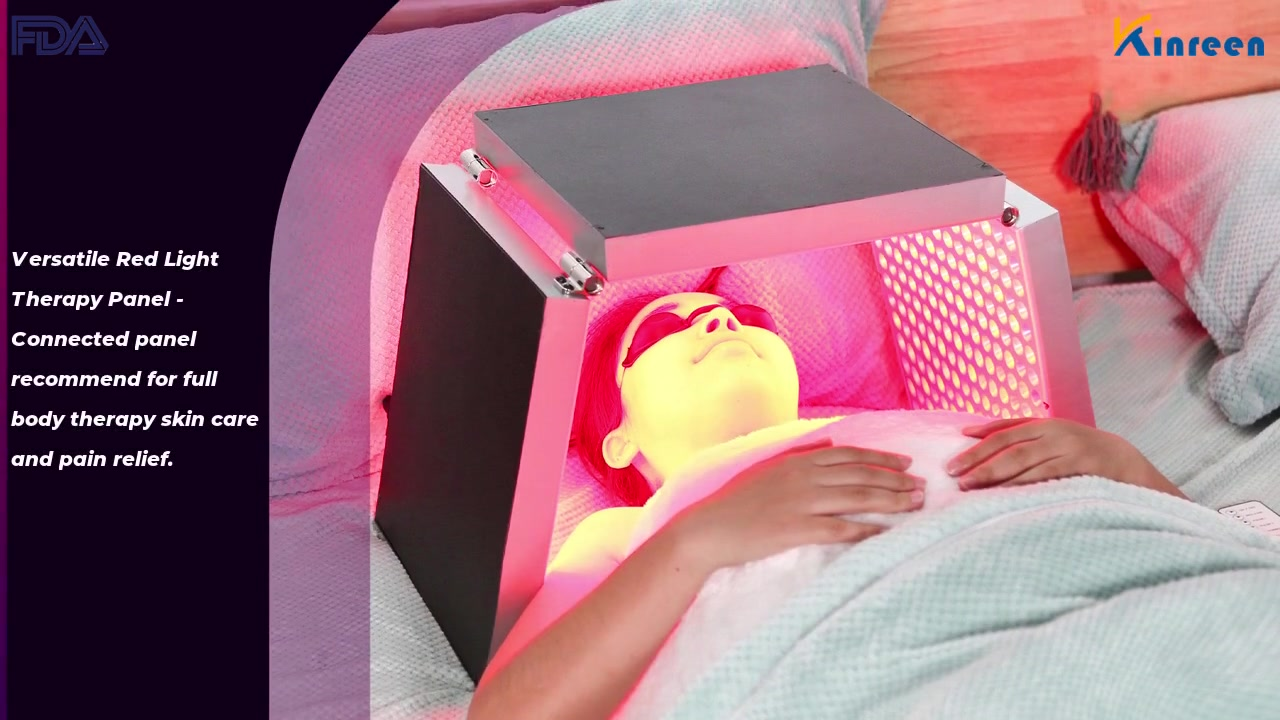 Versatile Red Light Therapy Panel - Connected panel recommend for full body therapy skin care and pain relief.