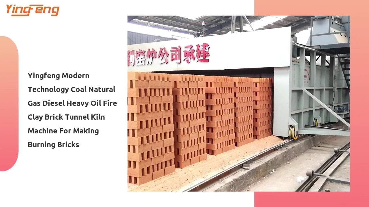 Profesional Yingfeng Tecnología moderna Carbón Gas natural Diesel Petróleo pesado Horno de túnel de ladrillo de arcilla de fuego Máquina para fabricar ladrillos ardientes Fabricantes