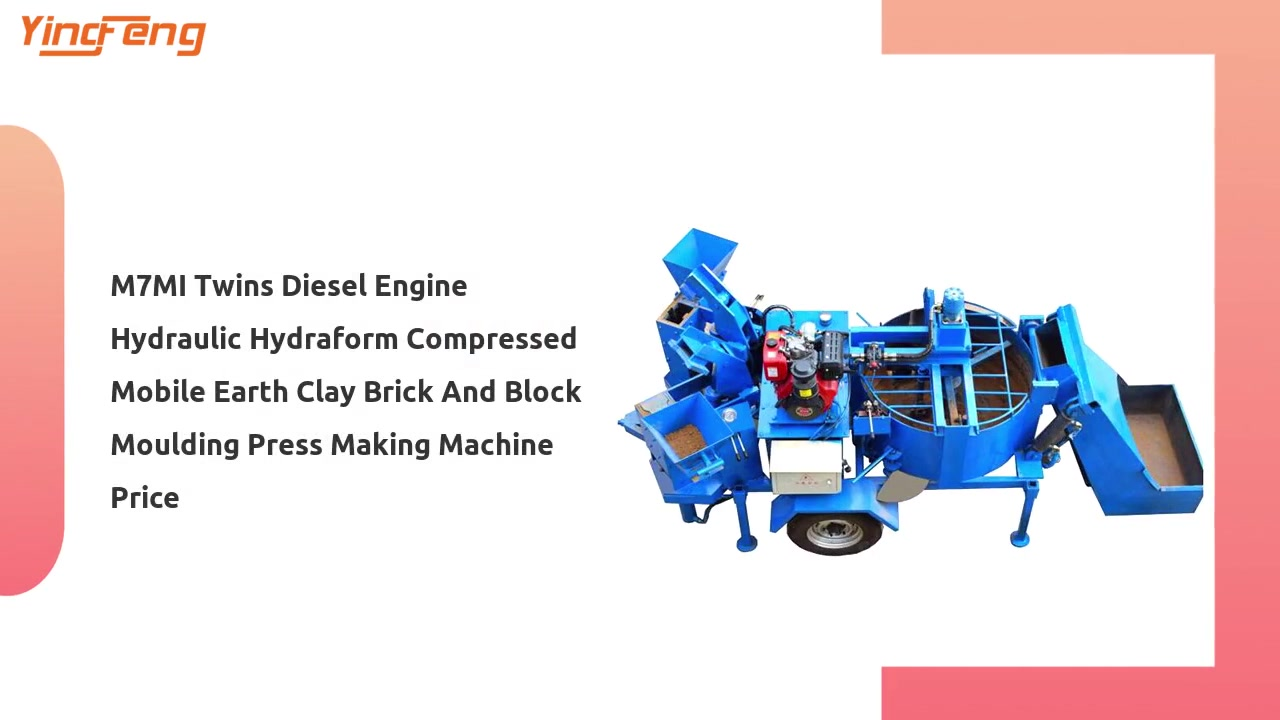 M7MI Twins Diesel Engine Hydraulic Mobile Earth  Brick And Block Moulding Making Machine