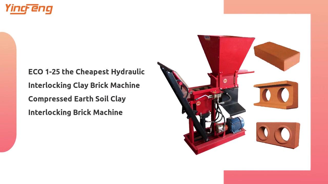 ECO 1-25 La máquina hidráulica más barata de ladrillo de ladrillo de arcilla de ladrillo de tierra de tierra de tierra de arcilla de arcilla de tierra de arcilla
