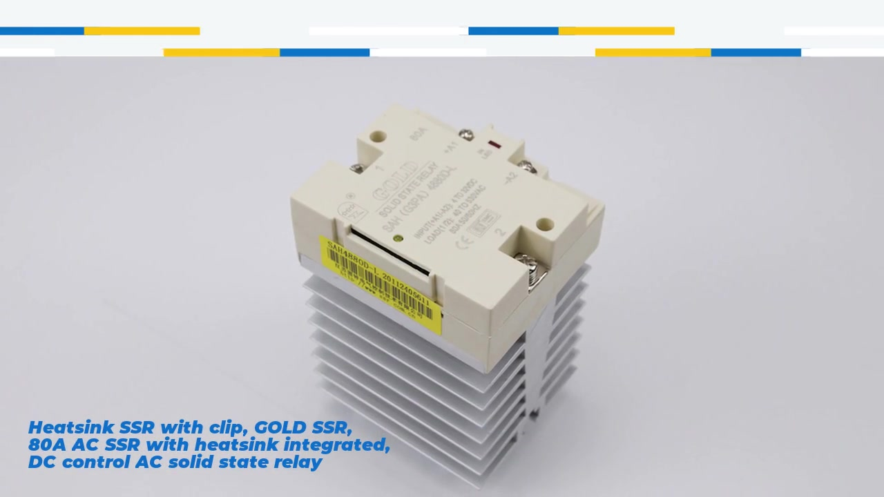 Heatsink SSR with clip, GOLD SSR, 80A AC SSR with heatsink integrated, DC control AC solid state relay, input 4-32VDC, input and output with LED indication, output current capacity 80A, output voltage 40-530VAC
