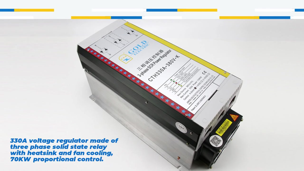 330A 방열판 및 팬 냉각, 70KW 비례 제어로 3 상 고체 상태 릴레이로 만들어진 330A 전압 조정기. 입력 4-20mA 또는 1-5VDC 또는 2-10VDC, 수동 포텐쇼미터 조정 : 2.2 - 4.7 K, 출력 전압 범위 0-380VAC