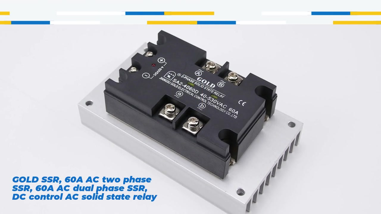 GOLD SSR, 60A AC two phase SSR, 60A AC dual phase SSR, DC control AC solid state relay, input 4-32VDC, input and output with LED indication, output two phase, oupt current capacity 60A, output voltage 40-530VAC