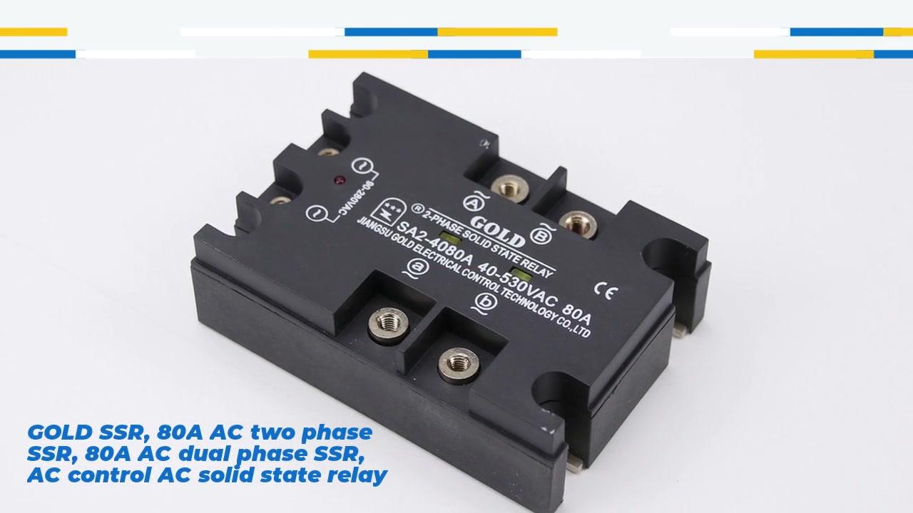 골드 SSR, 80A AC 2 상 SSR, 80A AC 듀얼 위상 SSR, AC 제어 AC 고체 상태 릴레이, 입력 90-280VAC, LED 표시, 출력 2 상, OUPT 전류 용량 80A, 출력 전압 40-530VAC
