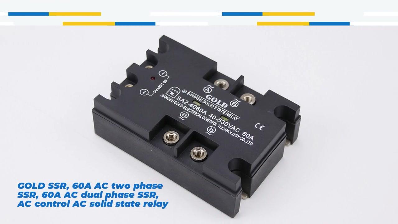 SSR vàng SSR, 60A AC SSR hai pha, 60A AC AC KIỂM SOÁT AC Rơle trạng thái rắn, đầu vào 90-280VAC, đầu vào và đầu ra với chỉ định LED, đầu ra hai pha, công suất hiện tại 60A, điện áp đầu ra 40-530VAC