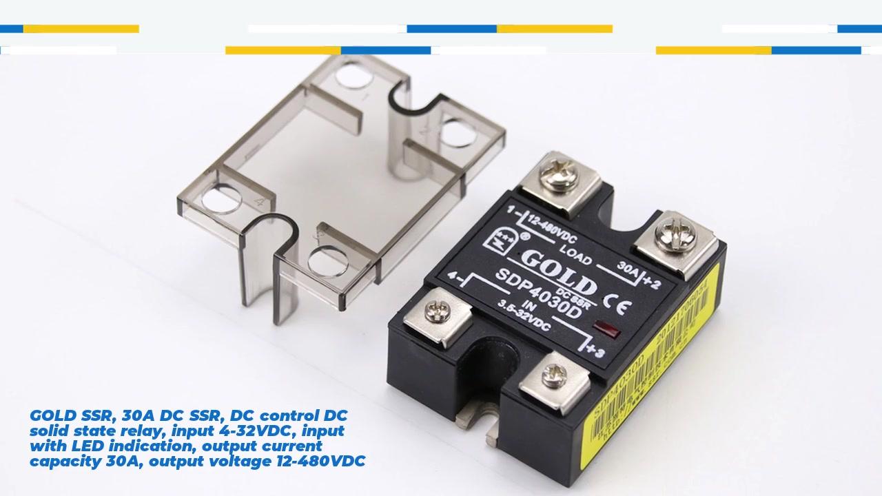 Gold SSR, 30A DC SSR, DC Control DC Solid State Relay, Eingang 4-32VDC, Eingang mit LED-Anzeige, Ausgangsstromkapazität 30A, Ausgangsspannung 12-480VDC