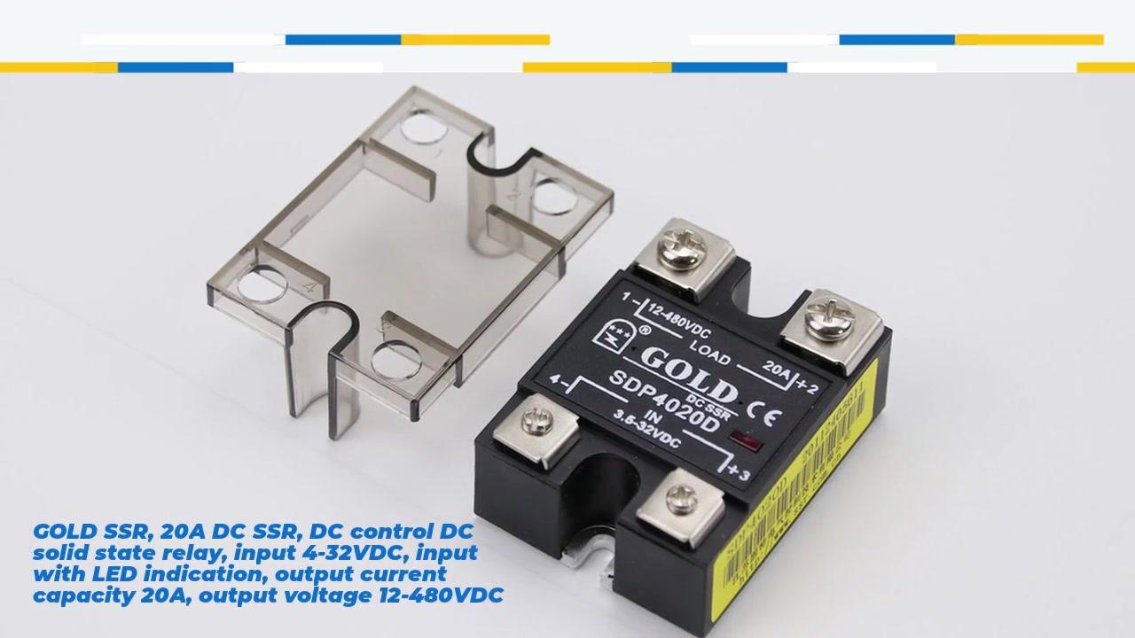 골드 SSR, 20A DC SSR, DC 제어 DC 솔리드 스테이트 릴레이, 입력 4-32VDC, LED 표시, 출력 전류 용량 20A, 출력 전압 12-480VDC