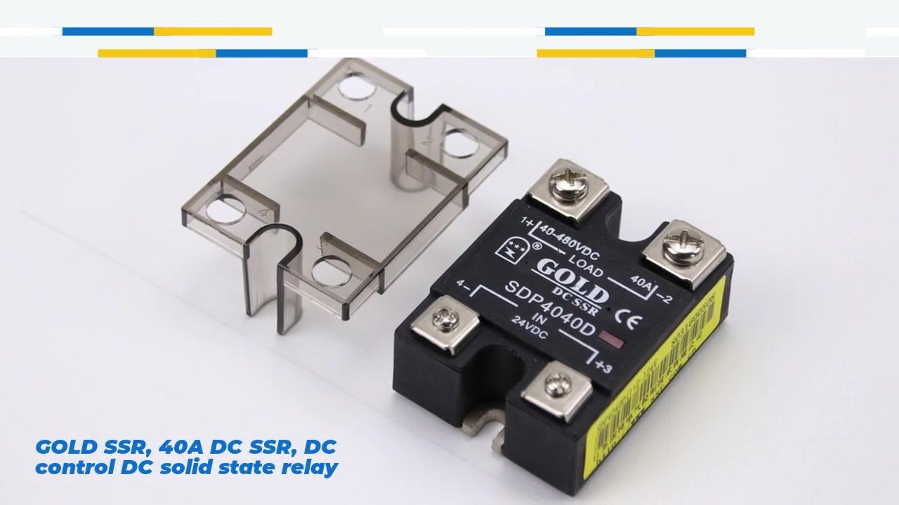SSR oro, 40A DC SSR, controllo DC DC relè a stato solido, ingresso 4-32vdc, ingresso con indicazione a LED, capacità corrente di uscita 40A, tensione di uscita 12-480vdc