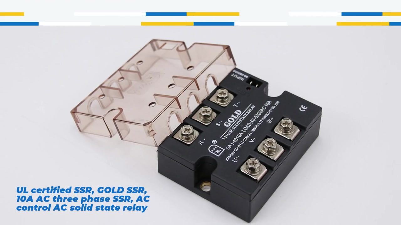 UL certified SSR, GOLD SSR, 10A AC three phase SSR, AC control AC solid state relay, input 90-280VAC, input with LED indication, output three phase, oupt current capacity 10A, output voltage 40-530VAC