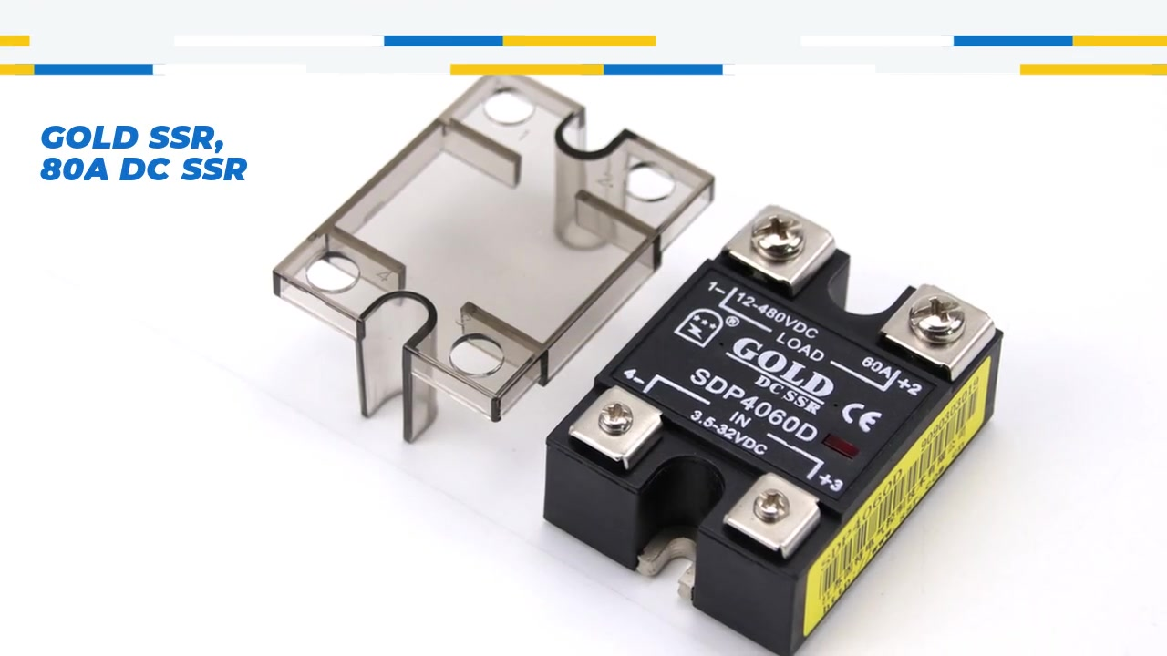 GOLD SSR, 60A DC SSR, DC control DC solid state relay, input 4-32VDC, input with LED indication, output current capacity 60A, output voltage 12-480VDC