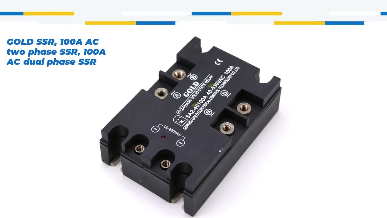 Ouro SSR, 100A AC dois Fase SSR, 100A CA Dual Fase SSR, Relé de Estado Sólido de Controle AC, entrada 90-280VAC, entrada e saída com indicação LED, saída de duas fases, Capacidade de corrente de saída 100A, Tensão de saída 40-530Vac