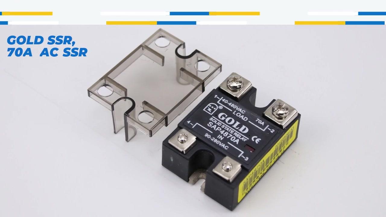 Gold SSR, 70A AC SSR, AC Control AC Solid State Relay, Eingang 90-280VAC, Eingang mit LED-Anzeige, Ausgangsstromkapazität 70A, Ausgangsspannung 40-480VAC