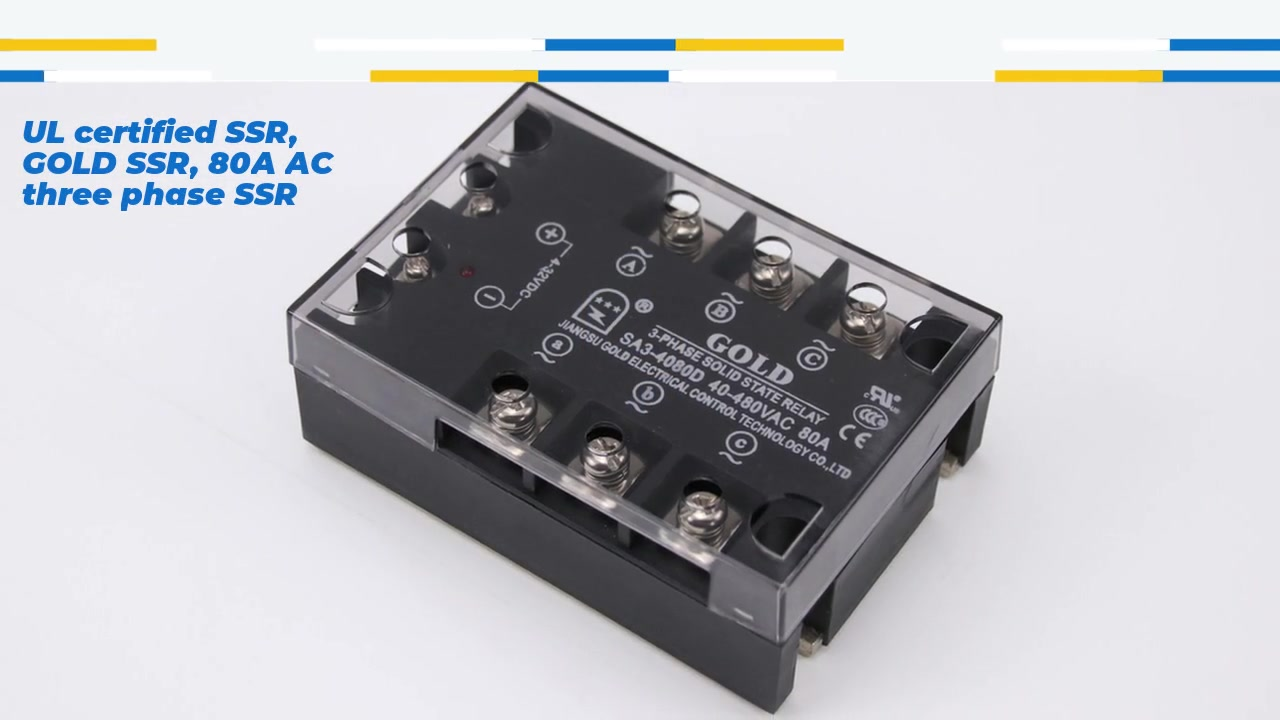 UL certified SSR, GOLD SSR, 80A AC three phase SSR, DC control AC solid state relay