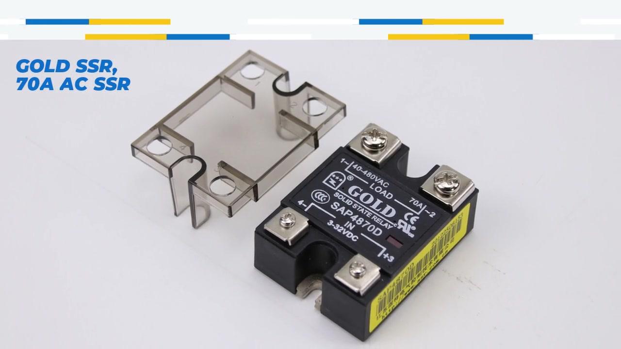 골드 SSR, 70A AC SSR, DC 제어 AC 고체 상태 릴레이, 입력 4-32VDC, LED 표시, 출력 전류 용량 70A, 출력 전압 40-480VAC