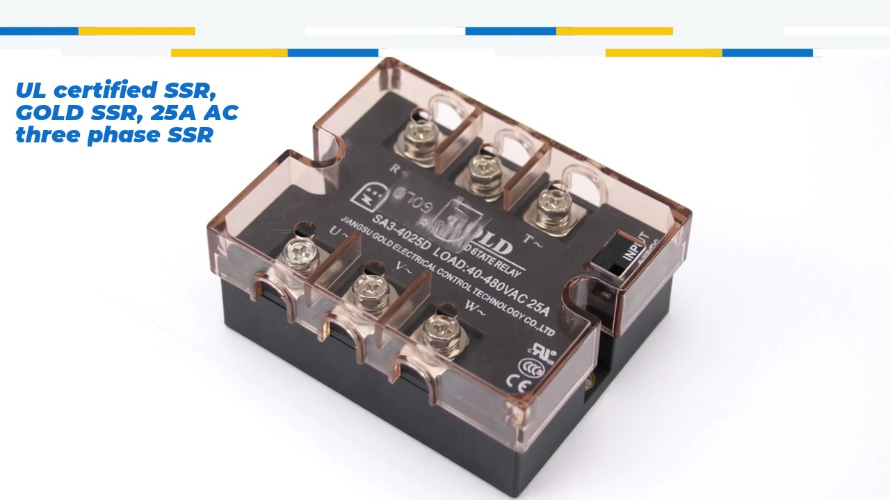 UL certified SSR, GOLD SSR, 25A AC three phase SSR, DC control AC solid state relay, input 4-32VDC, input with LED indication, output three phase, oupt current capacity 25A, output voltage 40-530VAC