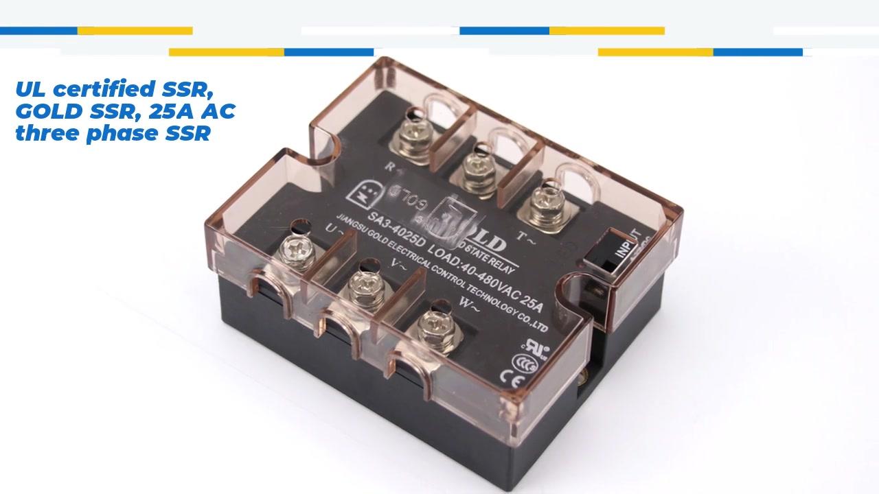 UL-zertifizierter SSR, Gold SSR, 25A AC-Dreiphasen-SSR, DC-Steuerung AC Solid State-Relais, Eingang 4-32VDC, Eingang mit LED-Anzeige, Ausgabe Dreiphasen, Oupt-Stromkapazität 25A, Ausgangsspannung 40-530VAC