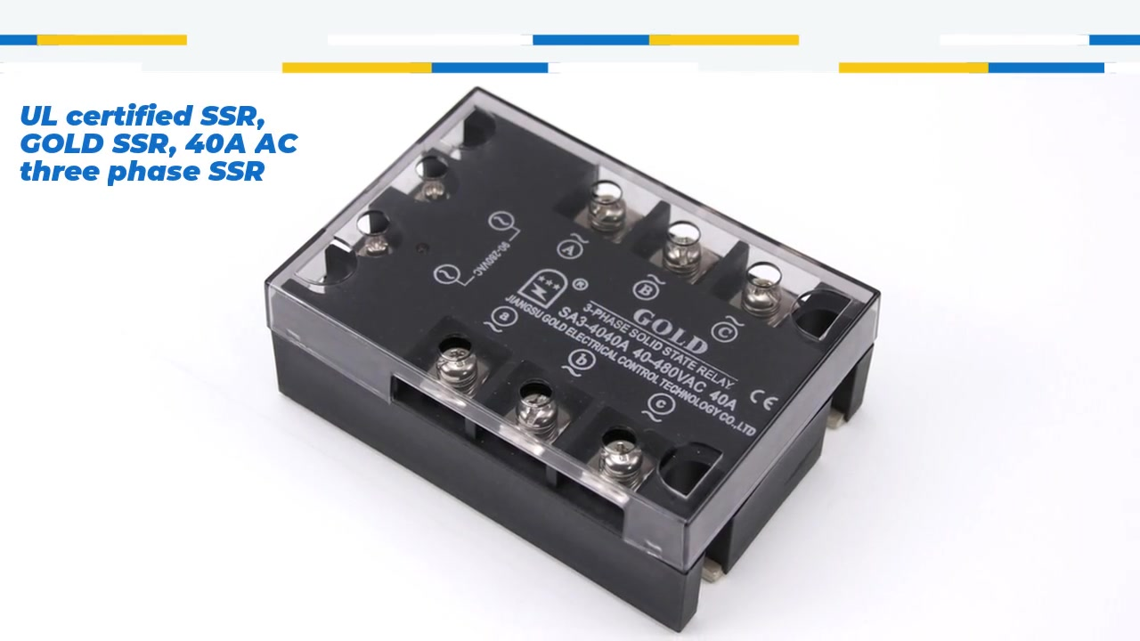 UL certified SSR, GOLD SSR, 40A AC three phase SSR, AC control AC solid state relay, input 90-280VAC, input with LED indication, output three phase, oupt current capacity 40A, output voltage 40-530VAC