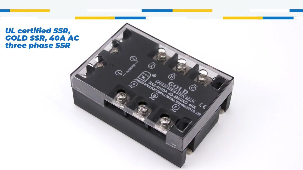 SSR certificado UL, SSR de ouro, 40A AC Três fases SSR, relé de estado sólido de controle AC, entrada 90-280VAC, entrada com indicação LED, saída três fase, capacidade de corrente de saída 40-530Vac de saída